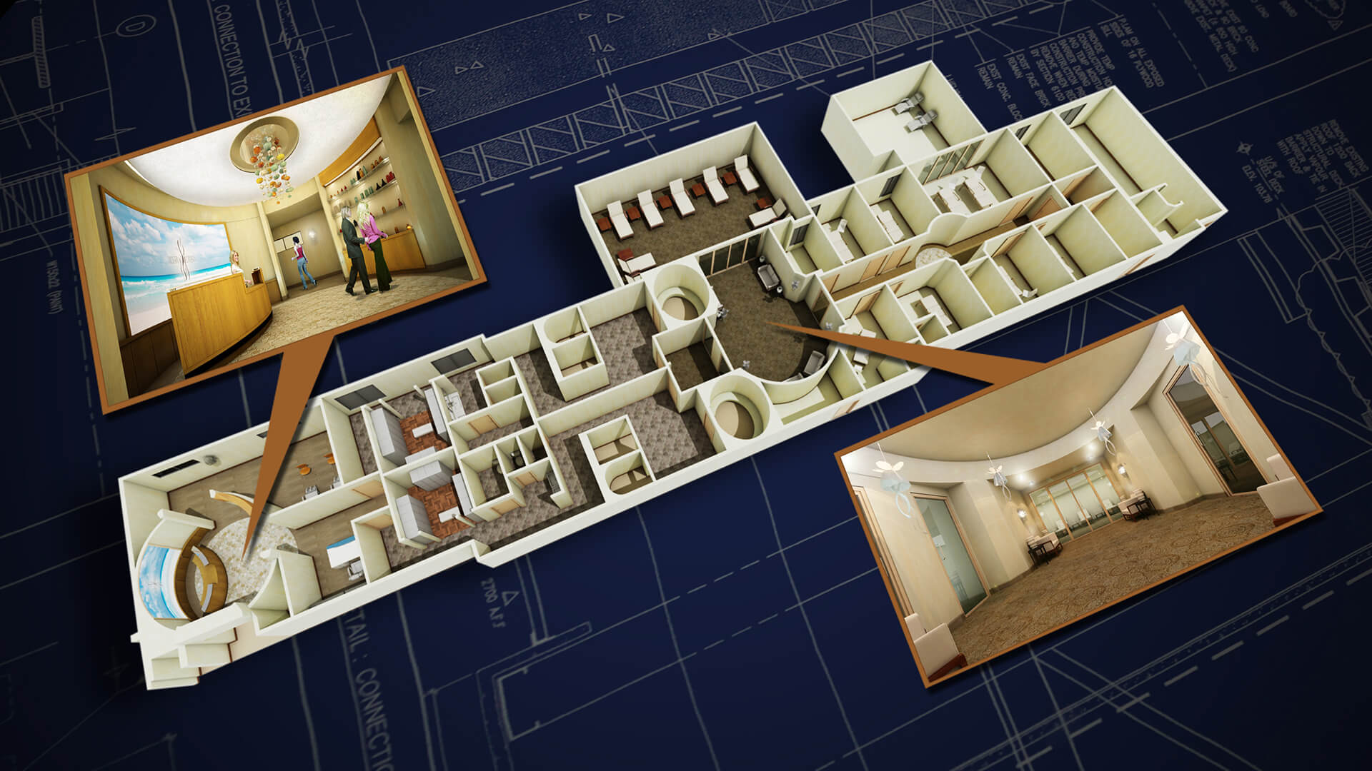 Ocean crest spa hilton resort ca 3d floor plan resort for 3d salon floor plans
