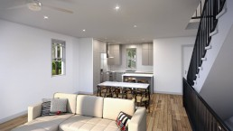 Interior Rendering in Texas by ALIGN3D - Manor Forest by Bunker Lee Residences - Unit B - Kitchen and Living Room