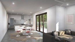 Interior Design Rendering by ALIGN3D - Manor Forest by Bunker Lee Residences - Unit B and D - Kitchen and Living Room